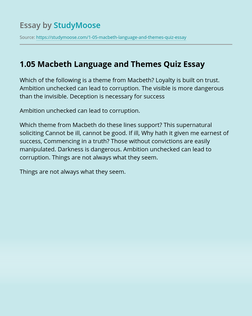 1.05 Macbeth Language and Themes Quiz
