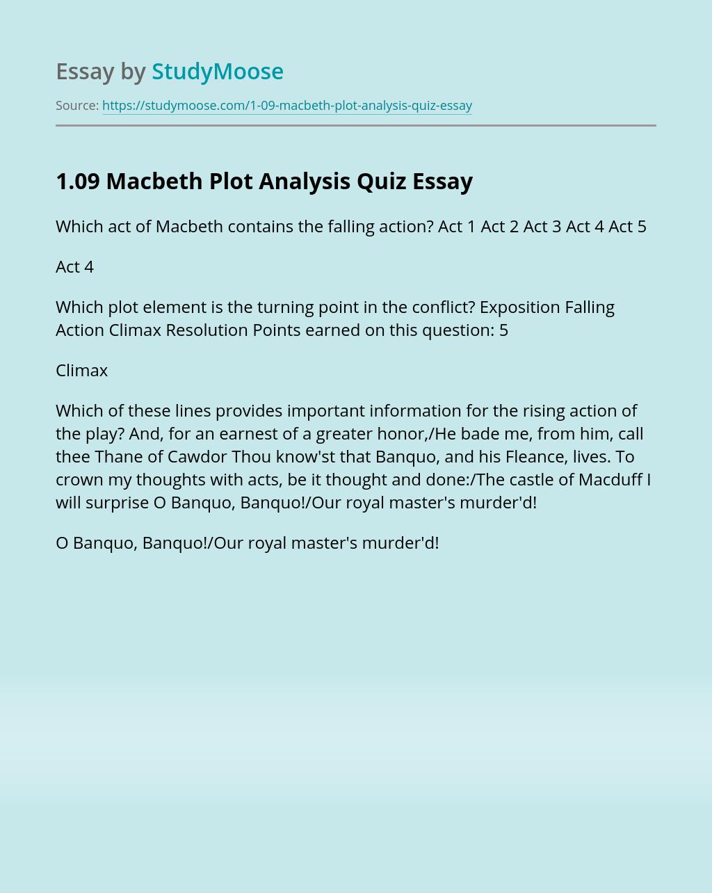 1.09 Macbeth Plot Analysis Quiz