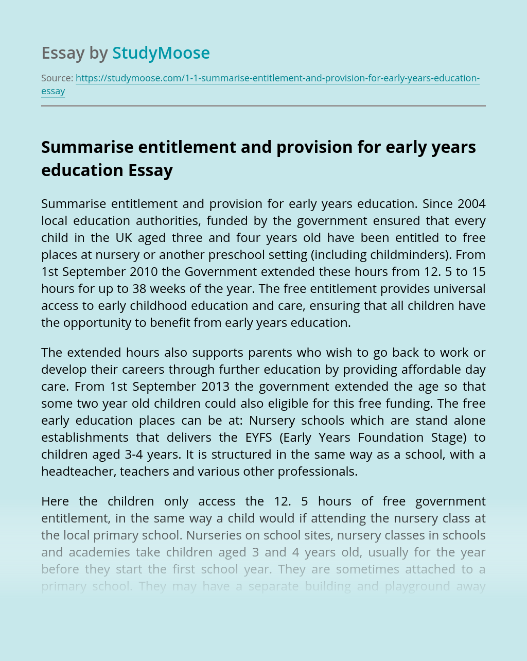 Summarise entitlement and provision for early years education