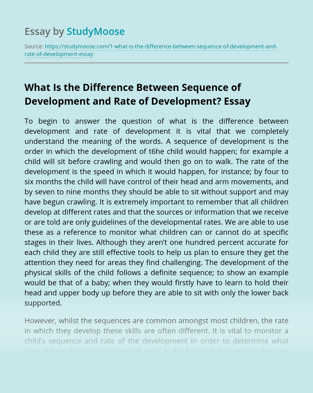 What Is the Difference Between Sequence of Development and Rate of Development?