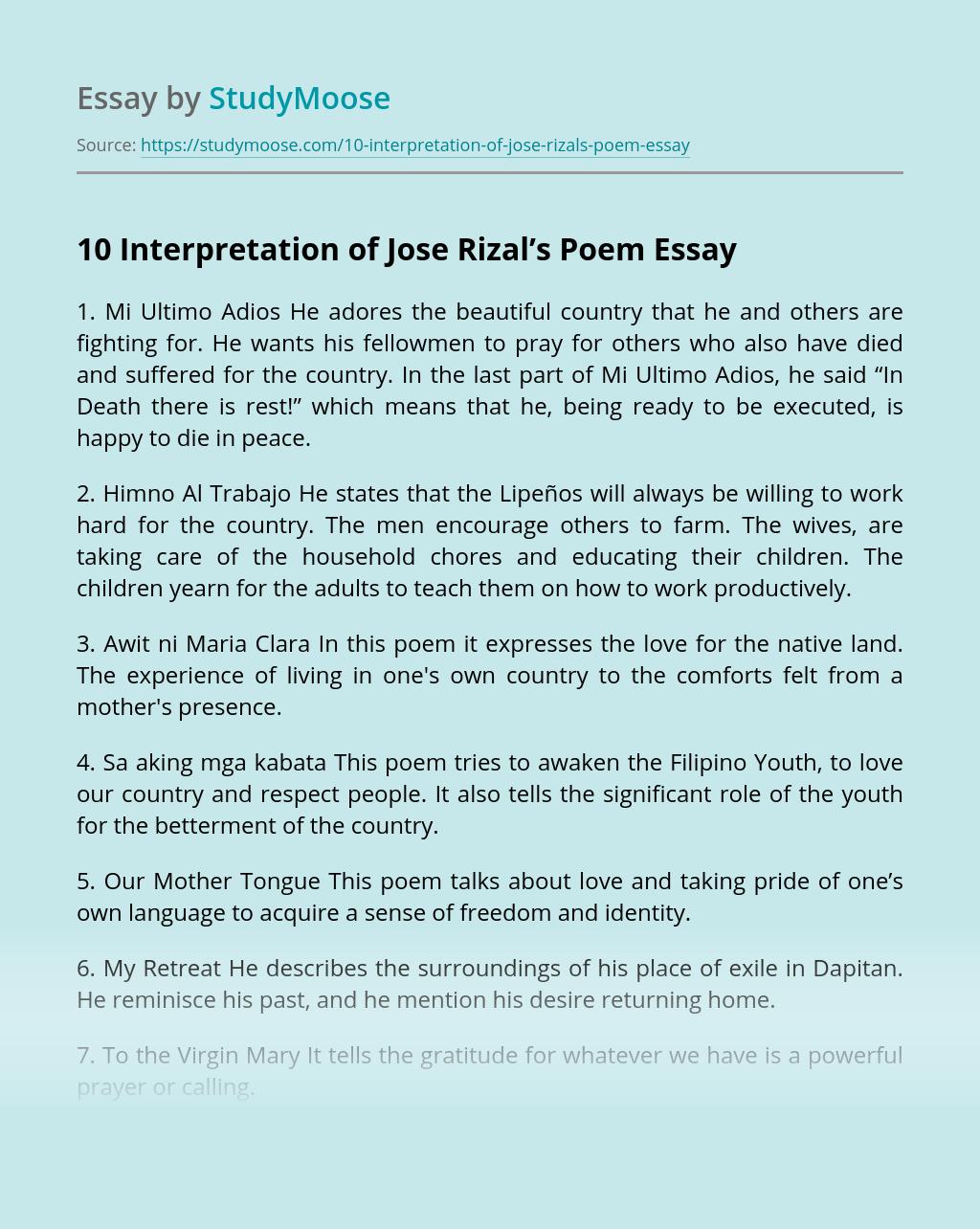 10 Interpretation of Jose Rizal's Poem