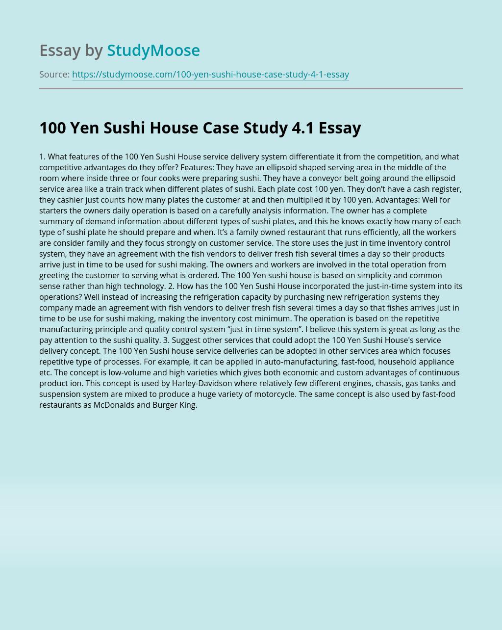 100 Yen Sushi House Case Study 4.1
