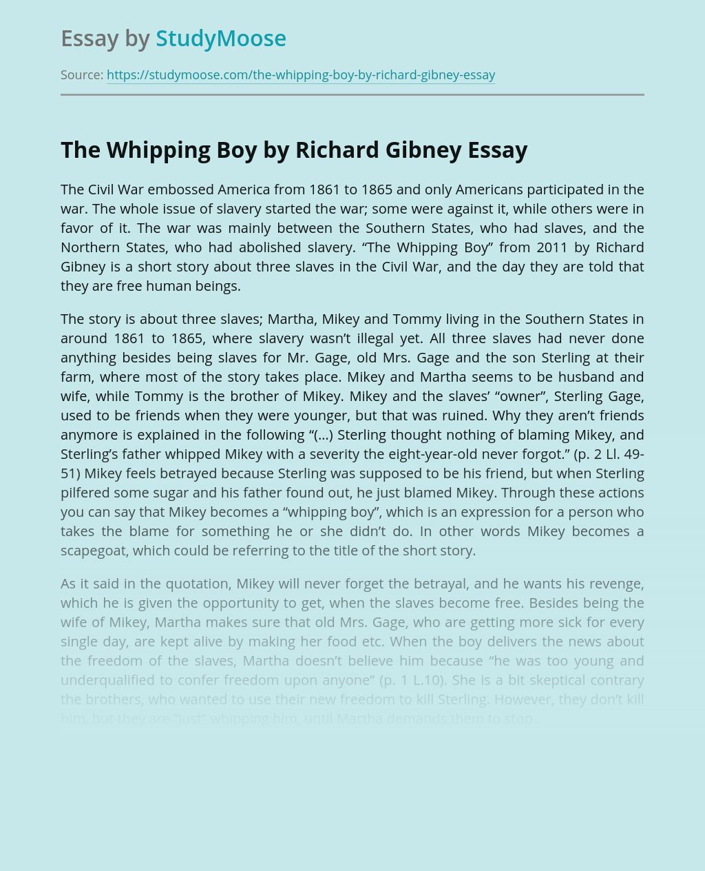 The Whipping Boy by Richard Gibney
