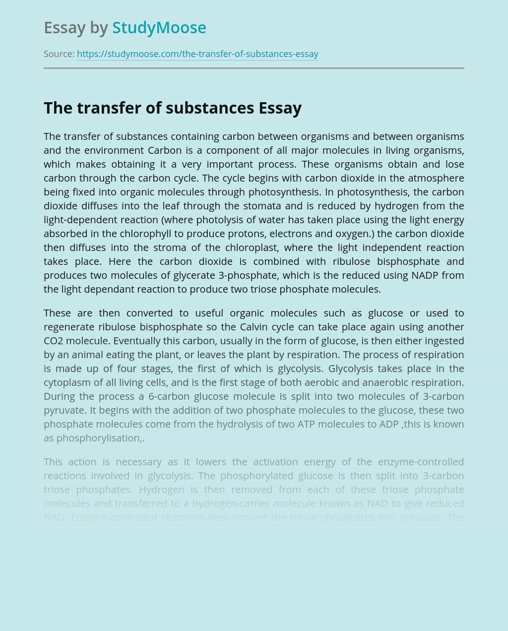 The transfer of substances