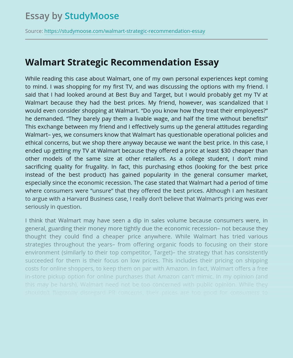 Walmart Strategic Recommendation