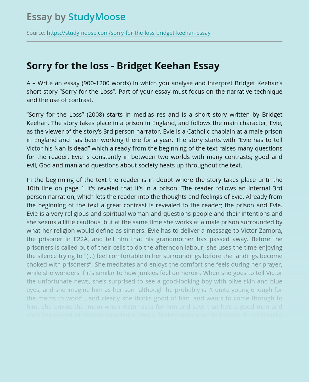 Sorry for the loss - Bridget Keehan