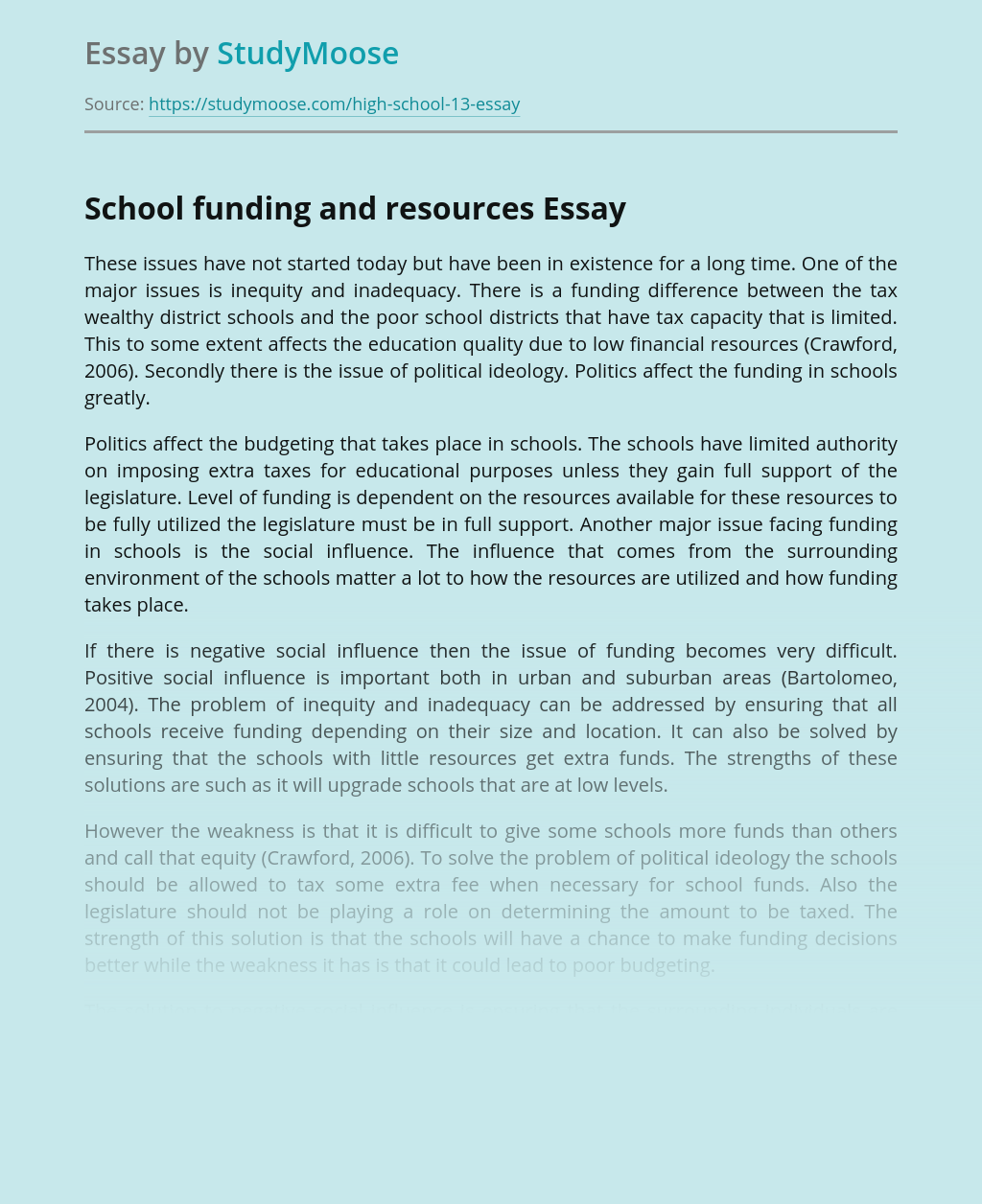 School funding and resources