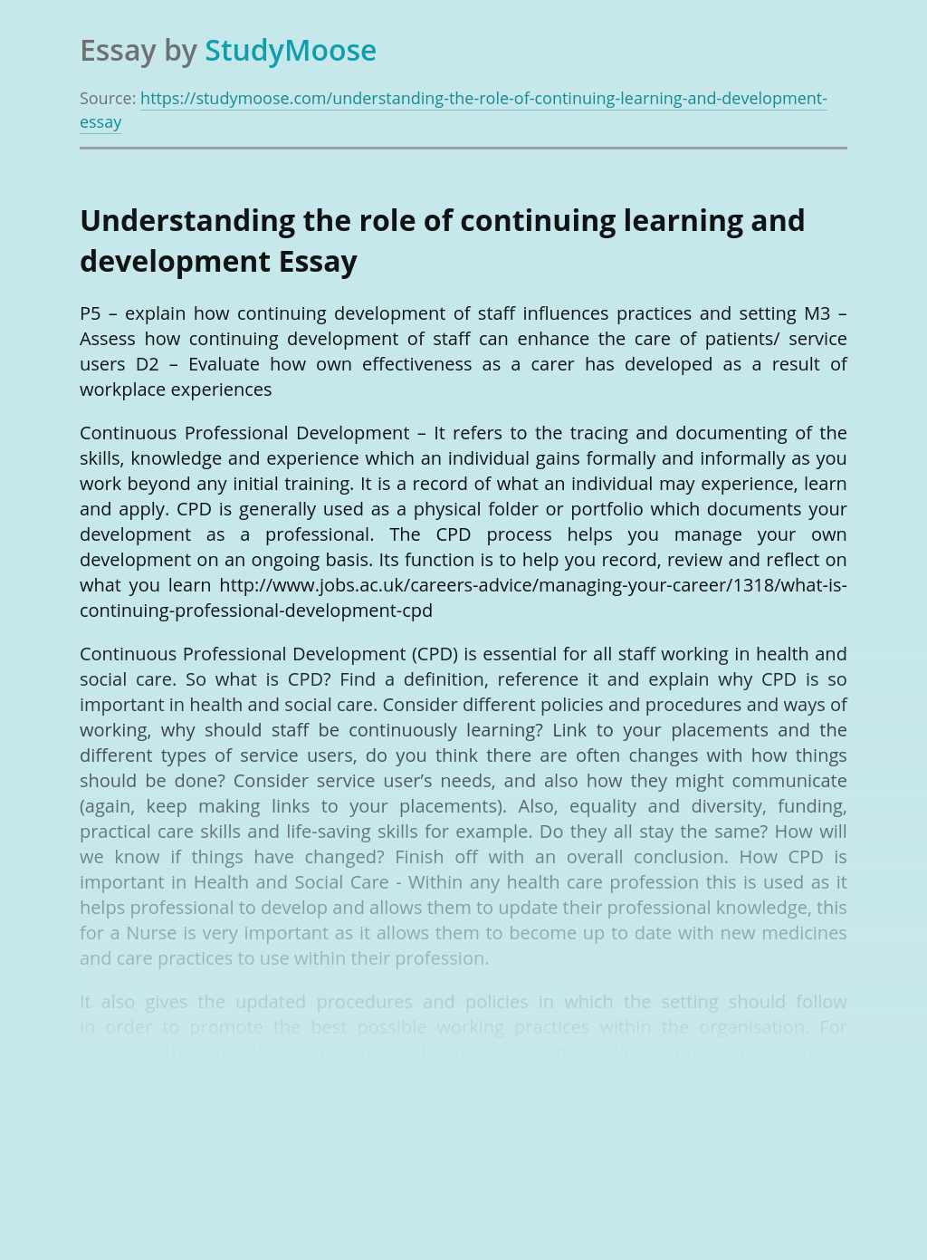 Understanding the role of continuing learning and development