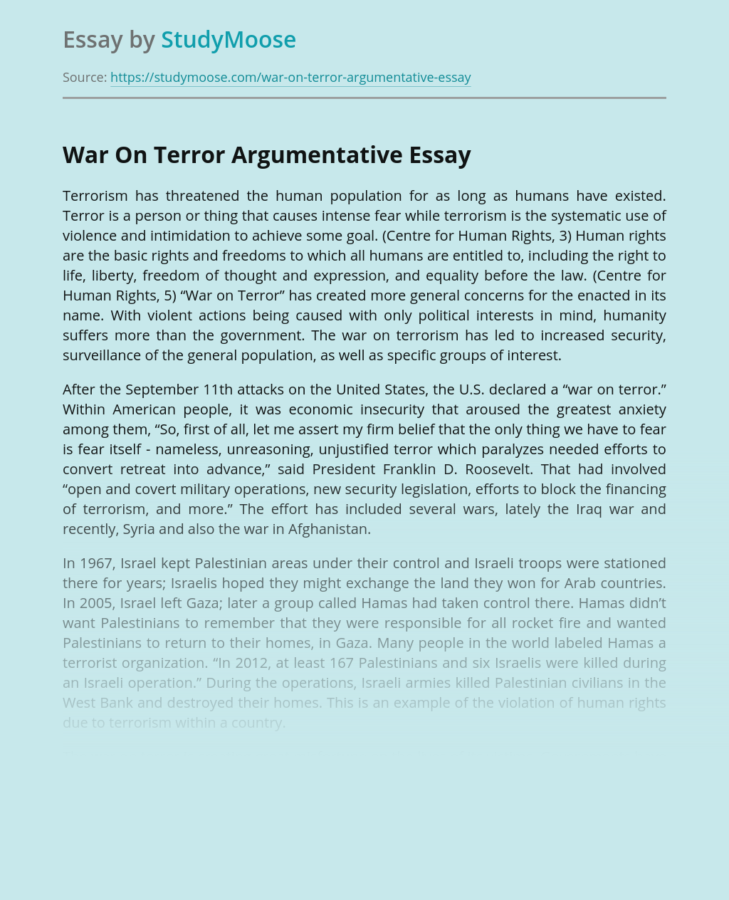 War On Terror Argumentative