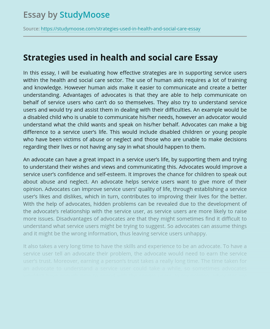 Strategies used in health and social care