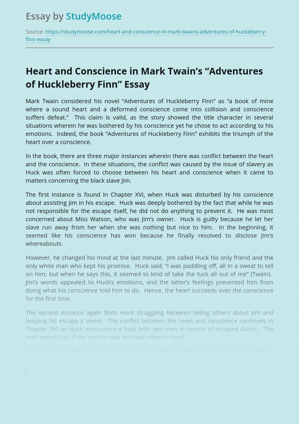 "Heart and Conscience in Mark Twain's ""Adventures of Huckleberry Finn"""