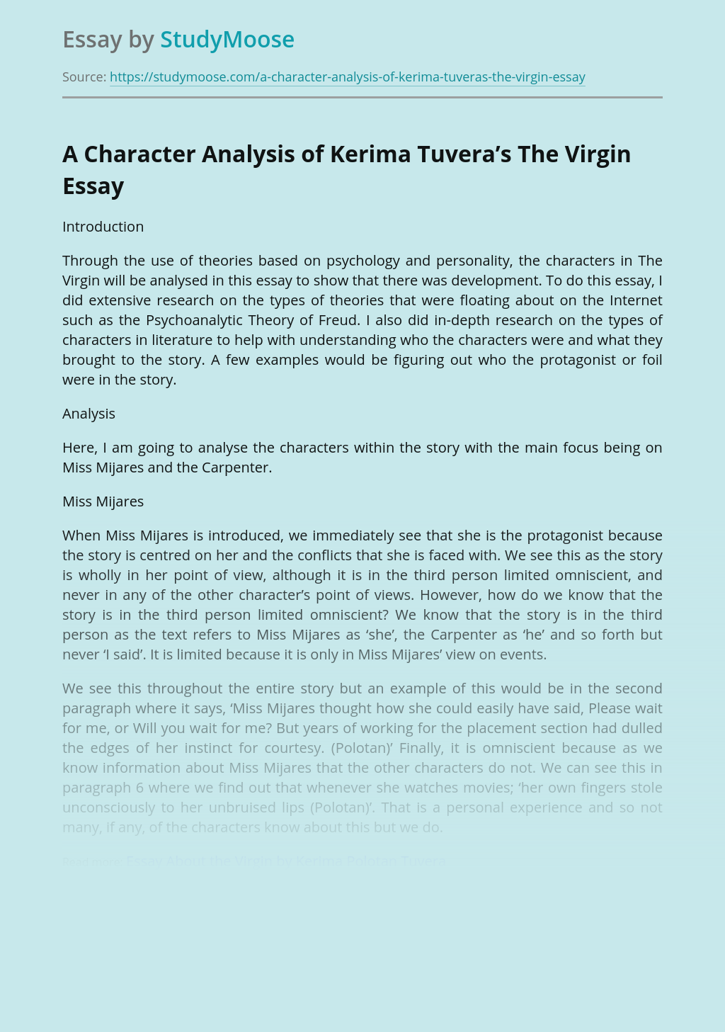 ?A Character Analysis of Kerima Tuvera's The Virgin