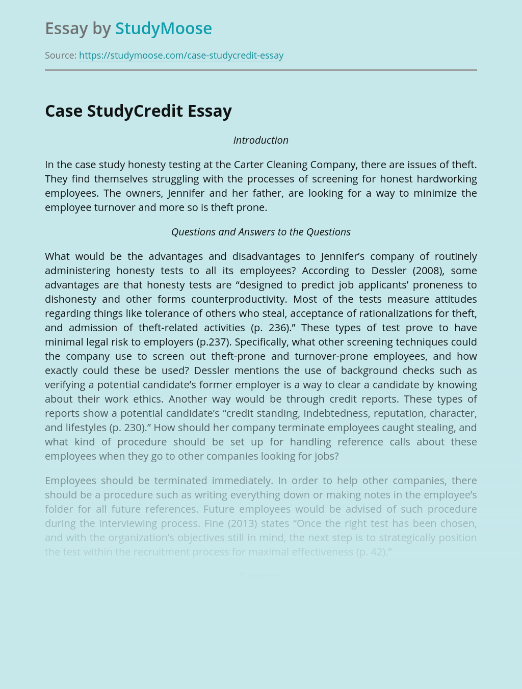 Case StudyCredit