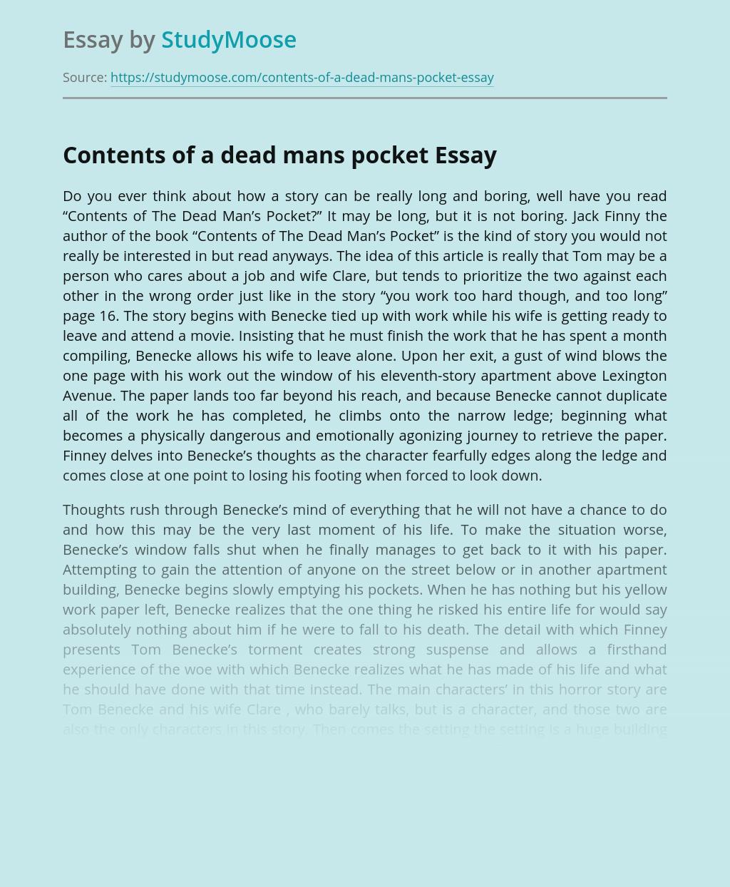 Contents of a dead mans pocket