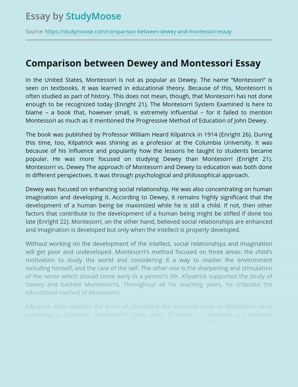 Comparison between Dewey and Montessori Education