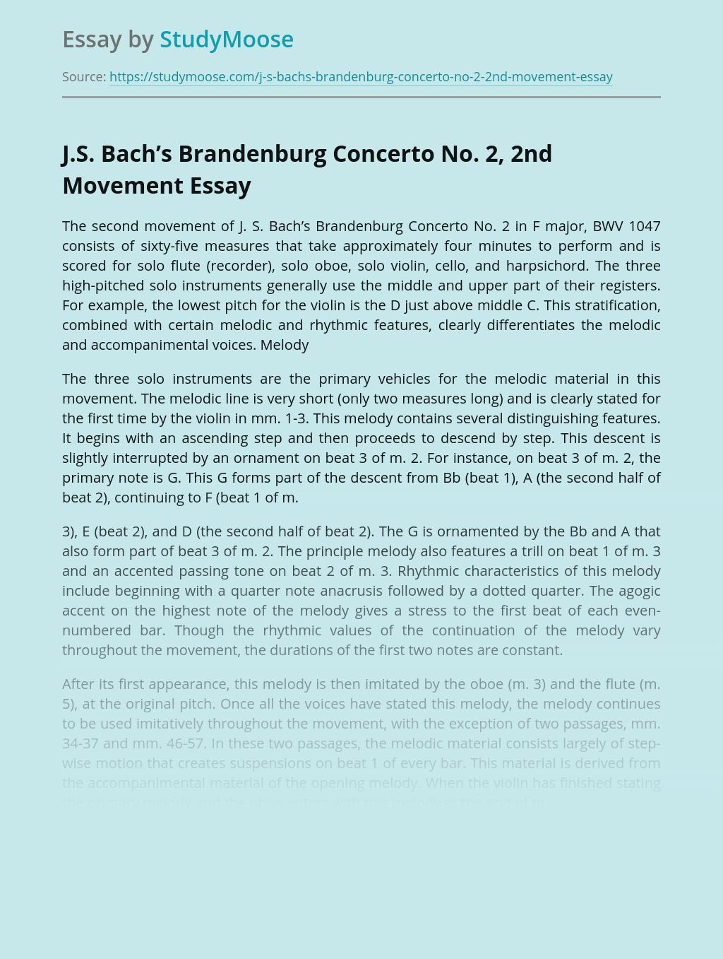 J.S. Bach's Brandenburg Concerto No. 2, 2nd Movement