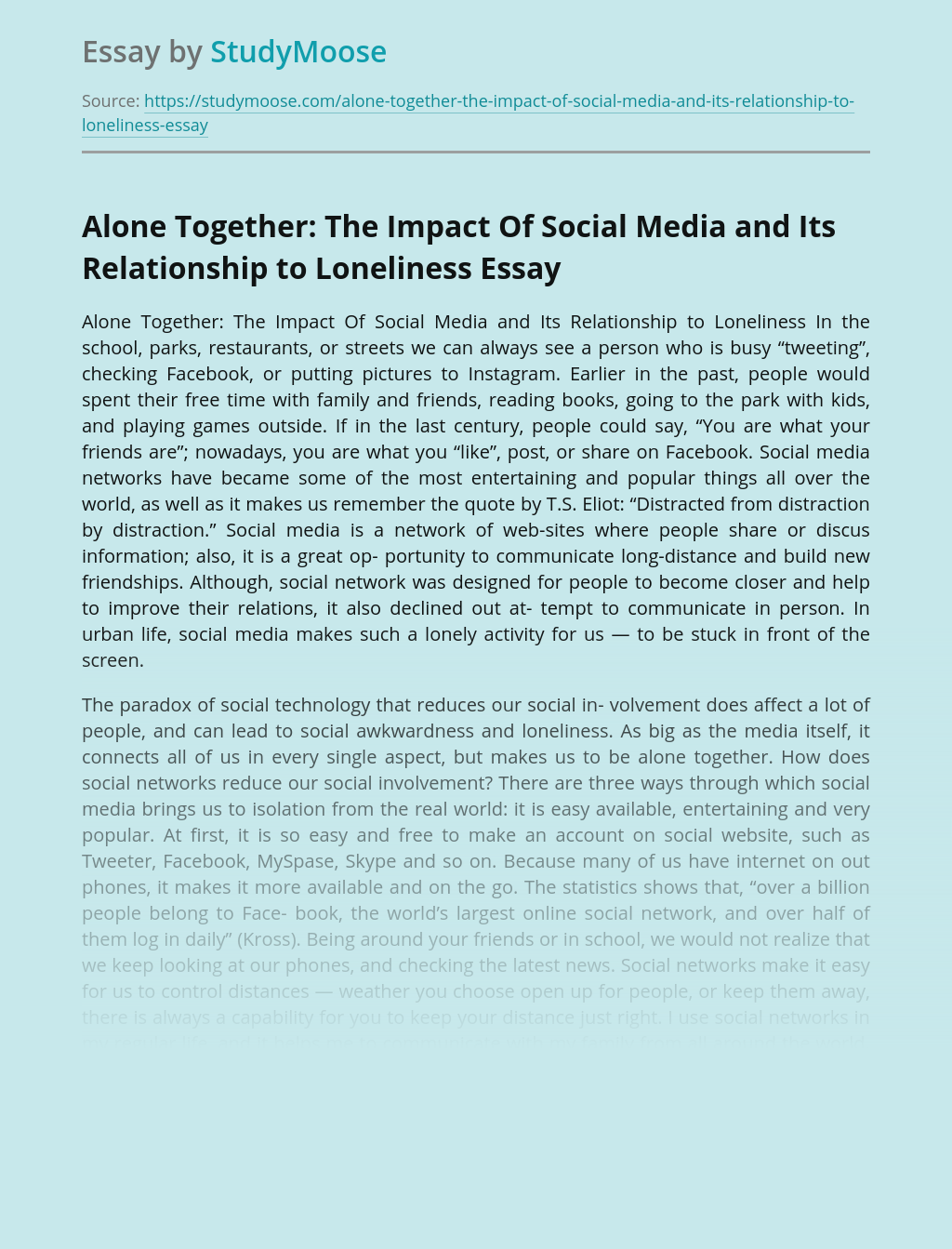 Alone Together: The Impact Of Social Media and Its Relationship to Loneliness