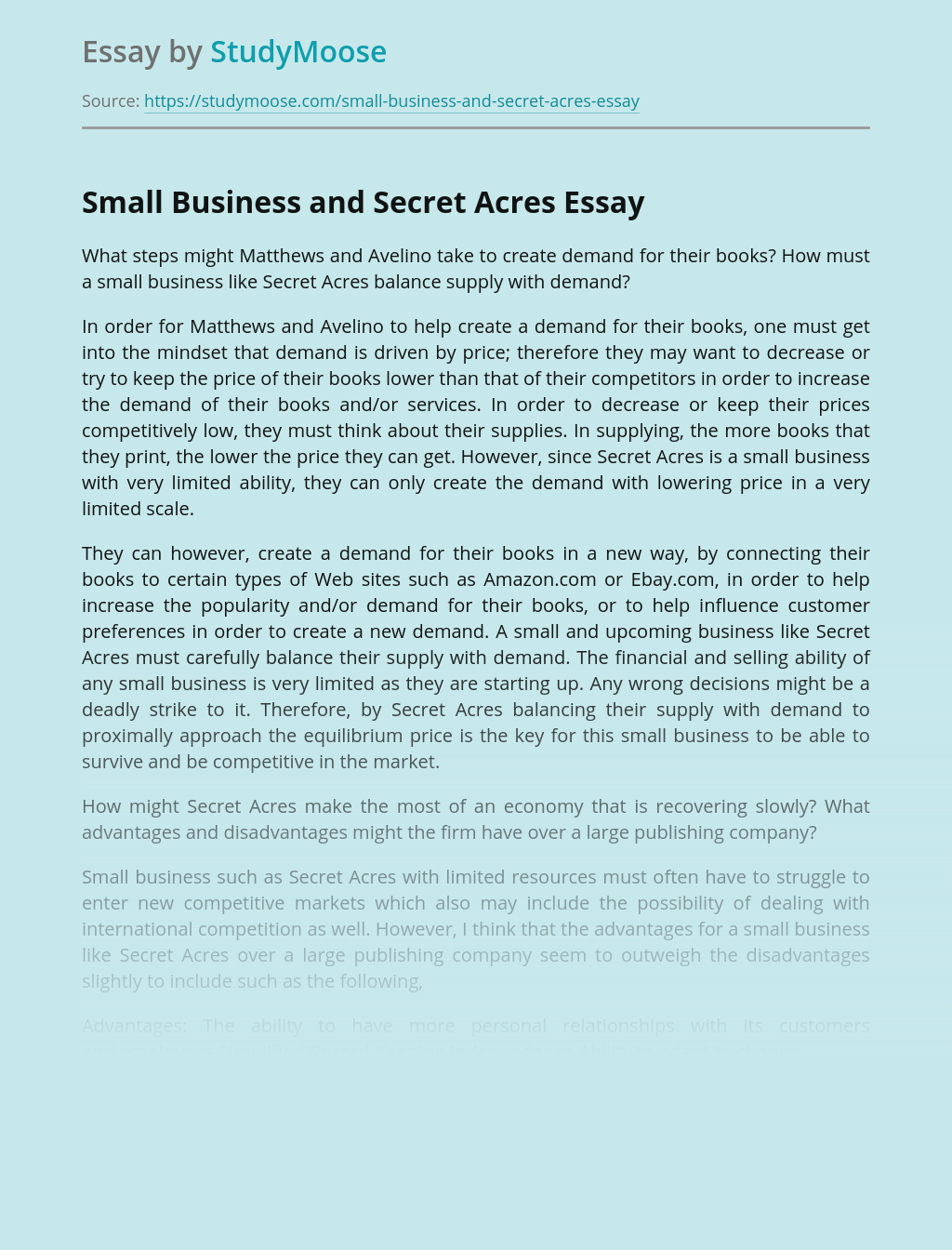 Small Business and Secret Acres