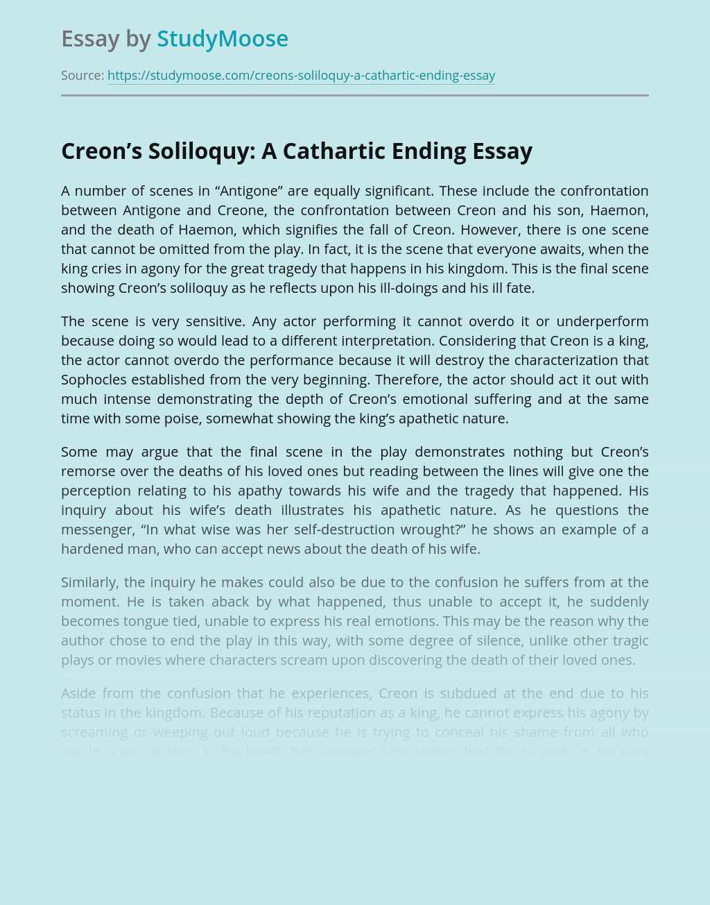 Creon's Soliloquy: A Cathartic Ending