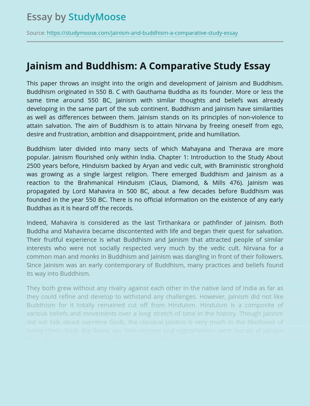 Jainism and Buddhism: A Comparative Study
