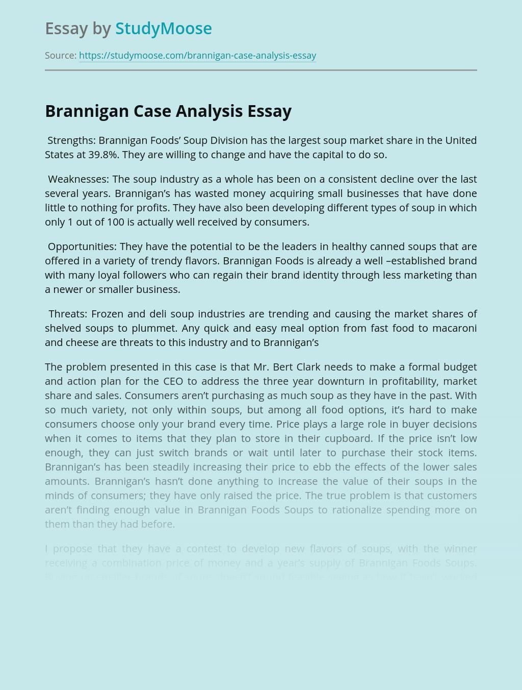 Brannigan Foods Case Study