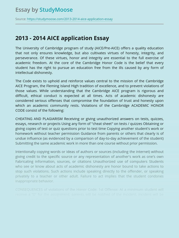 2013 - 2014 AICE application