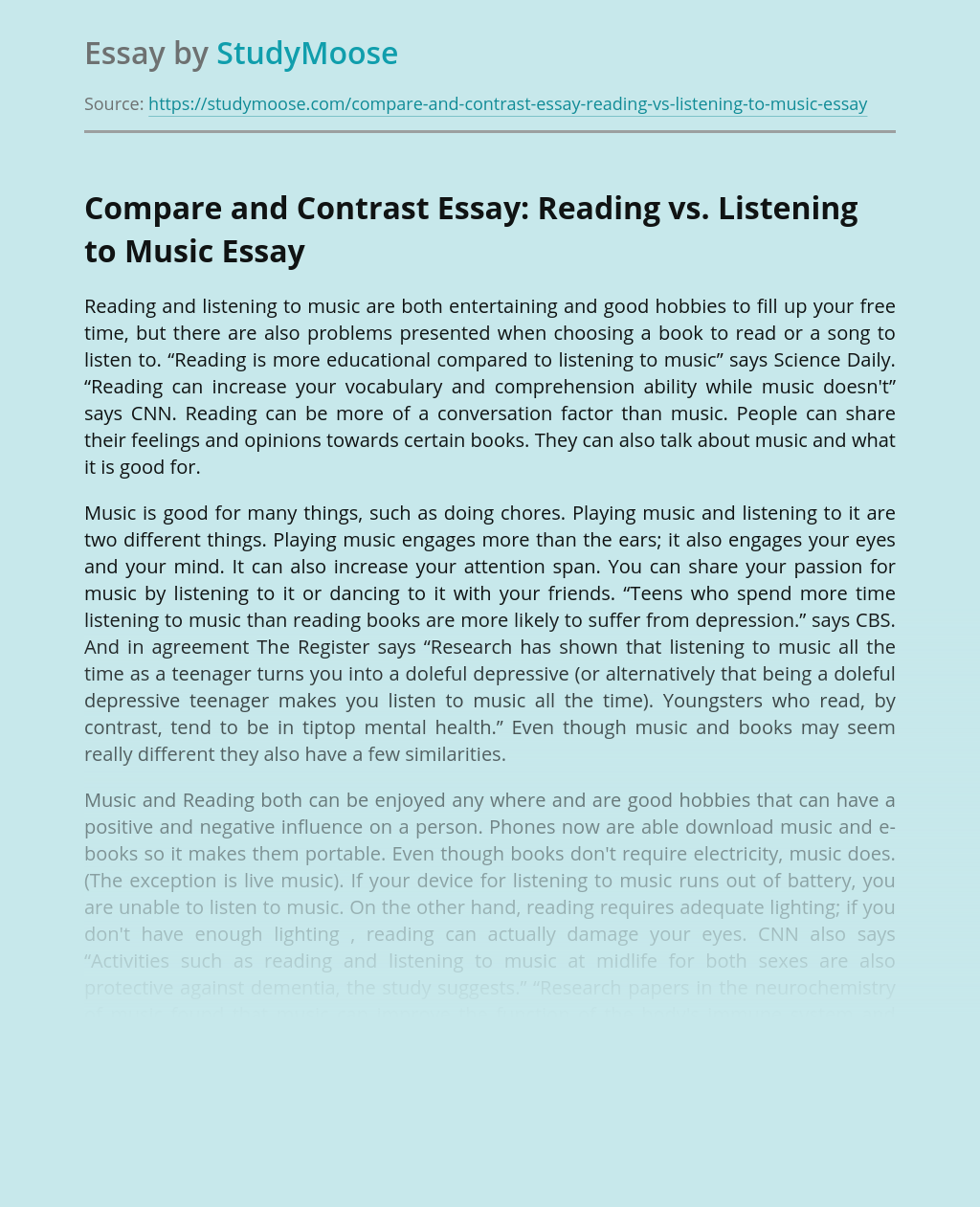 Compare and Contrast Essay: Reading vs. Listening to Music