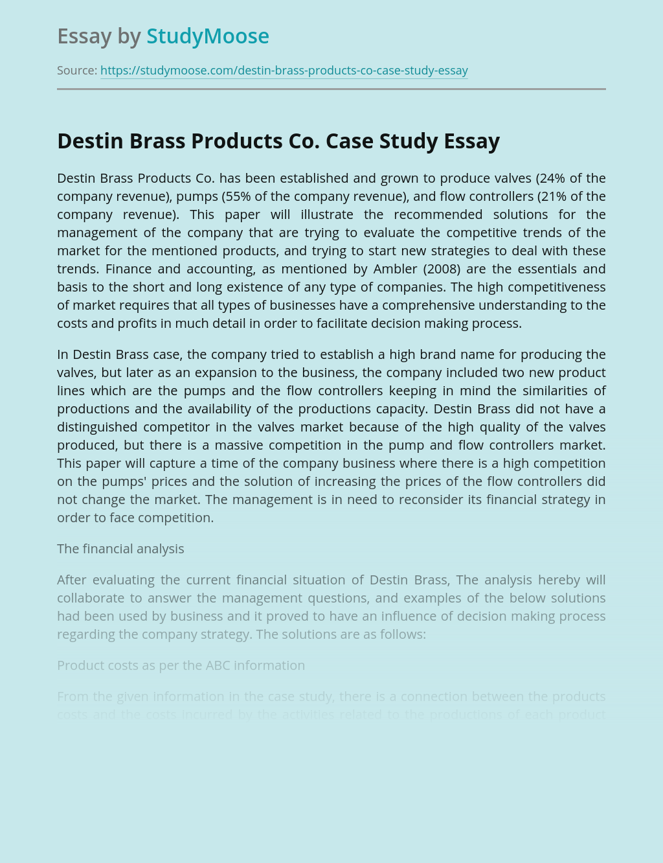 Destin Brass Products Co. Case Study