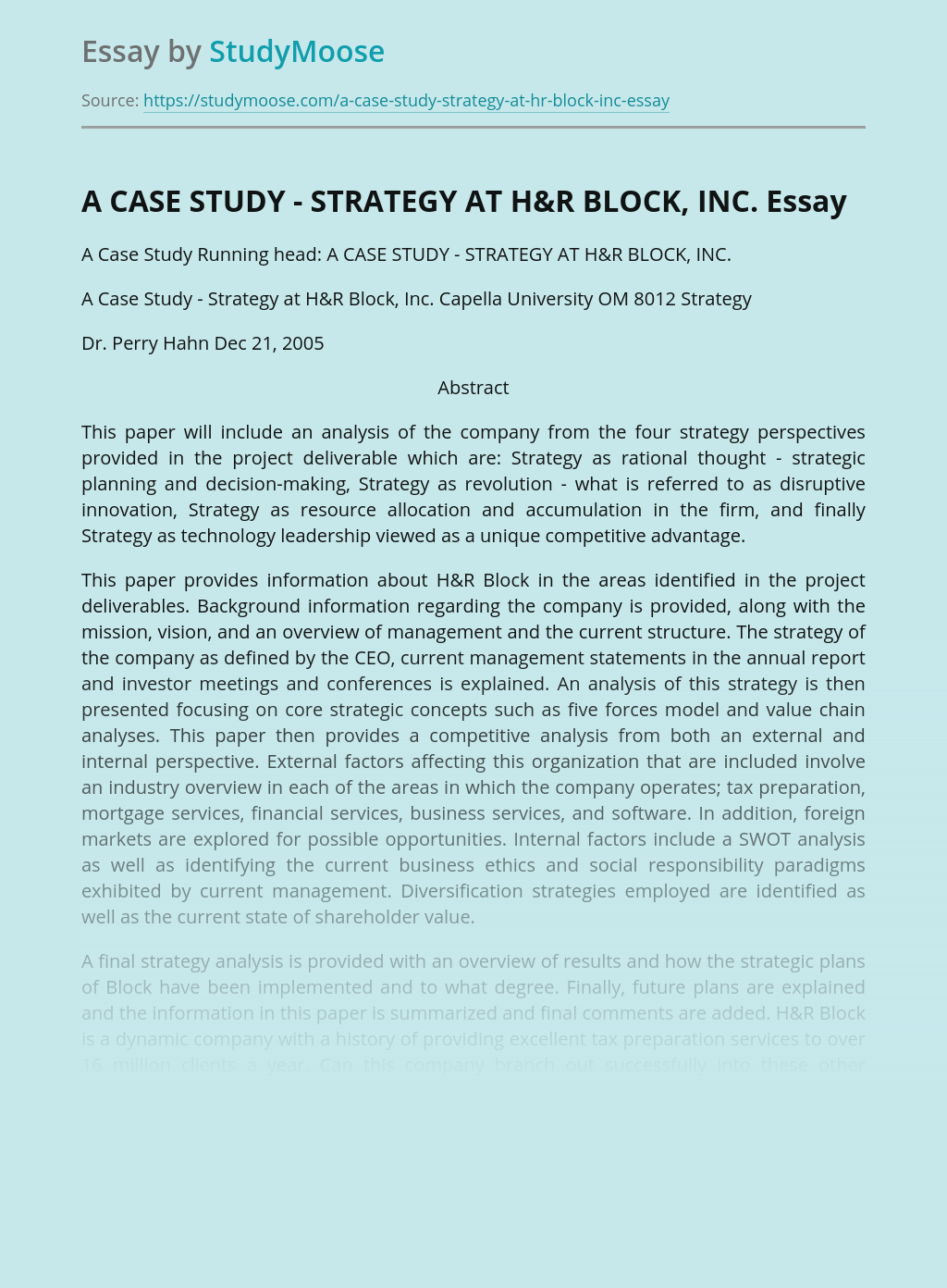 A CASE STUDY - STRATEGY AT H&R BLOCK, INC.