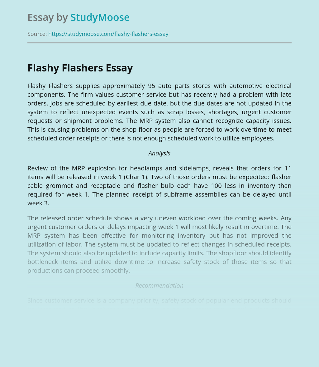 Flashy Flashers' Processes and Supply Chains