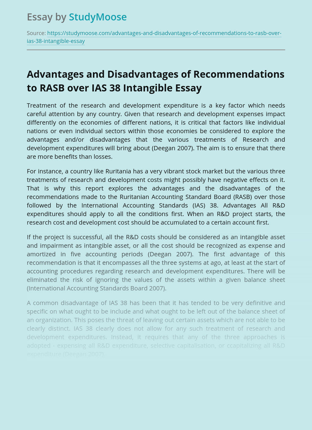Advantages and Disadvantages of Recommendations to RASB over IAS 38 Intangible