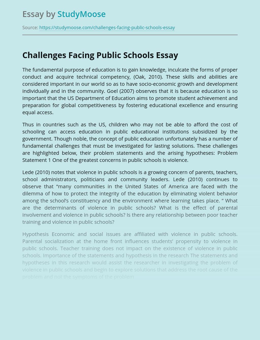 Challenges Facing Public Schools