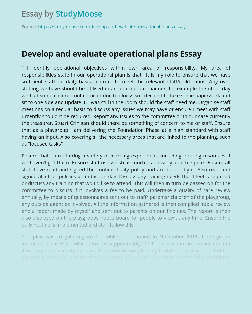 Develop and Evaluate Operational Plans