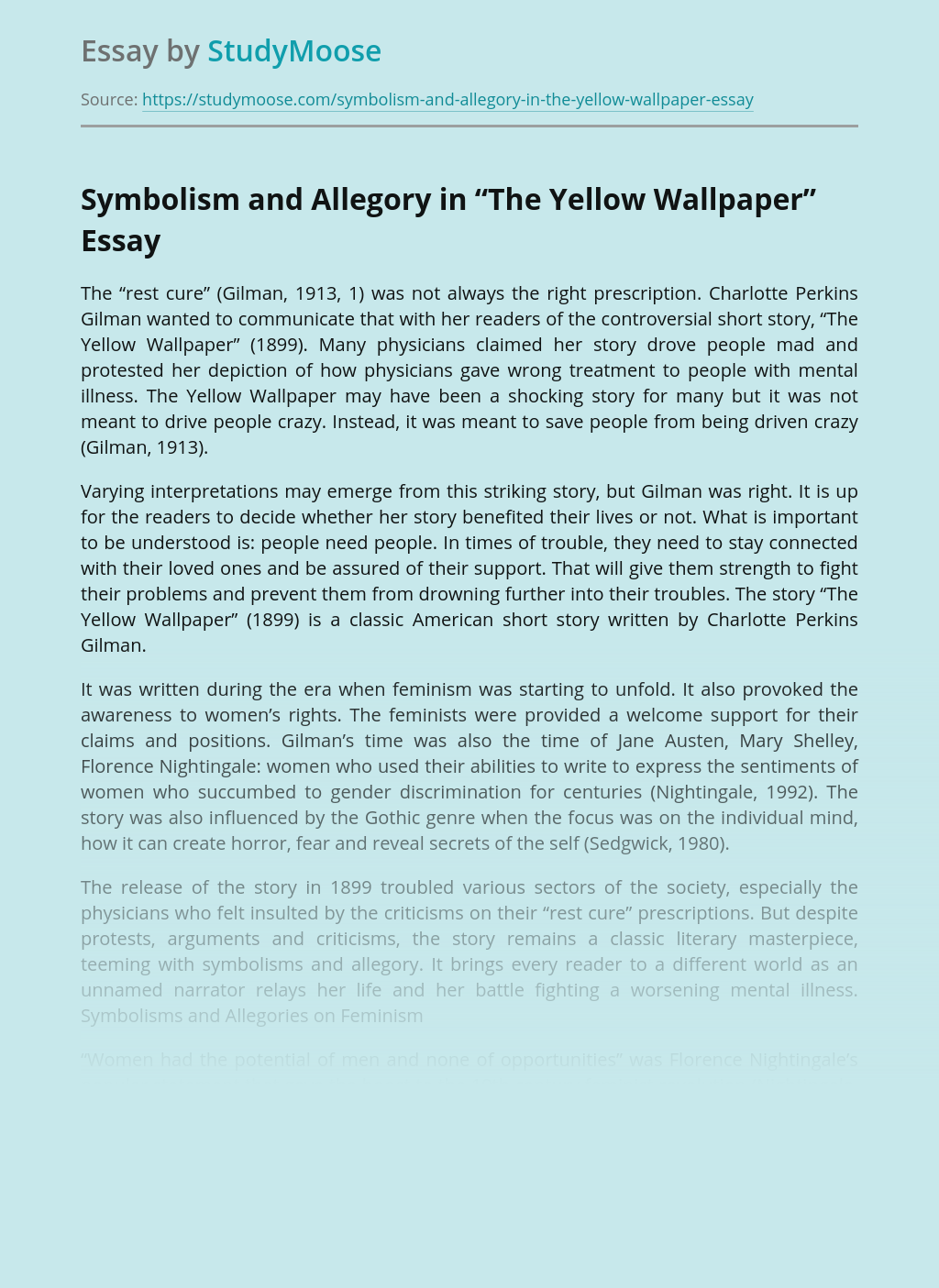 "Symbolism and Allegory in ""The Yellow Wallpaper"""