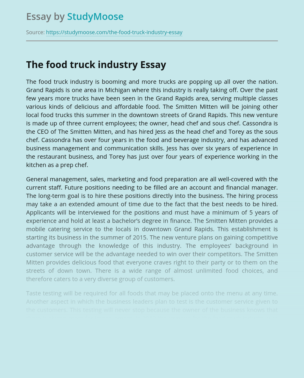 The food truck industry