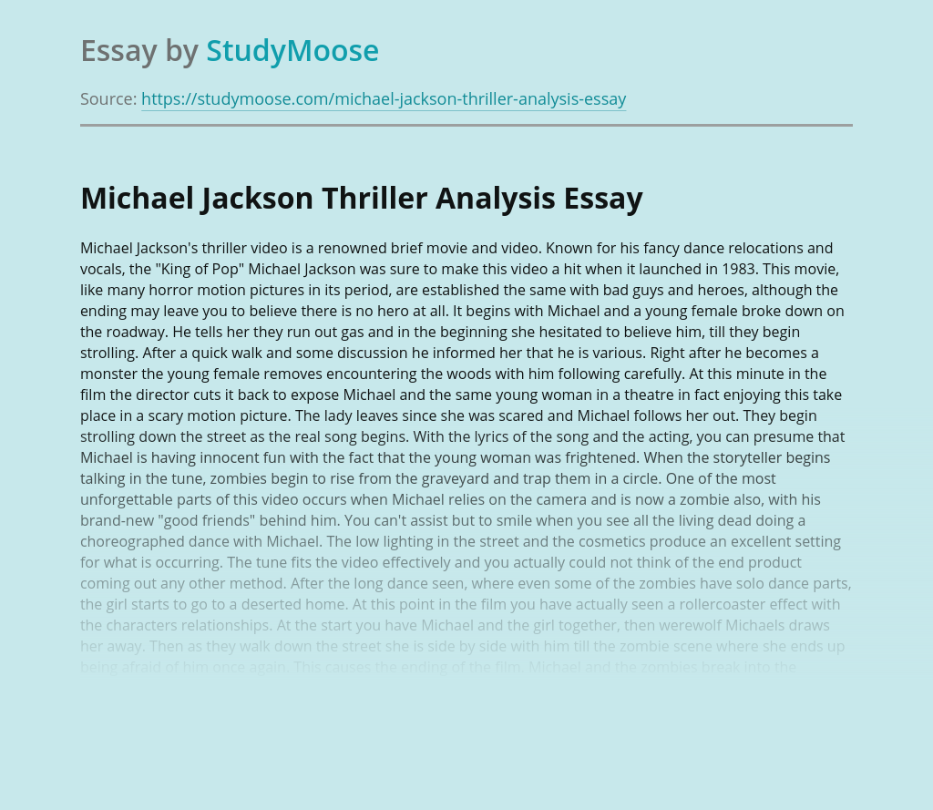 Analysis of Michael Jackson's Thriller Movie