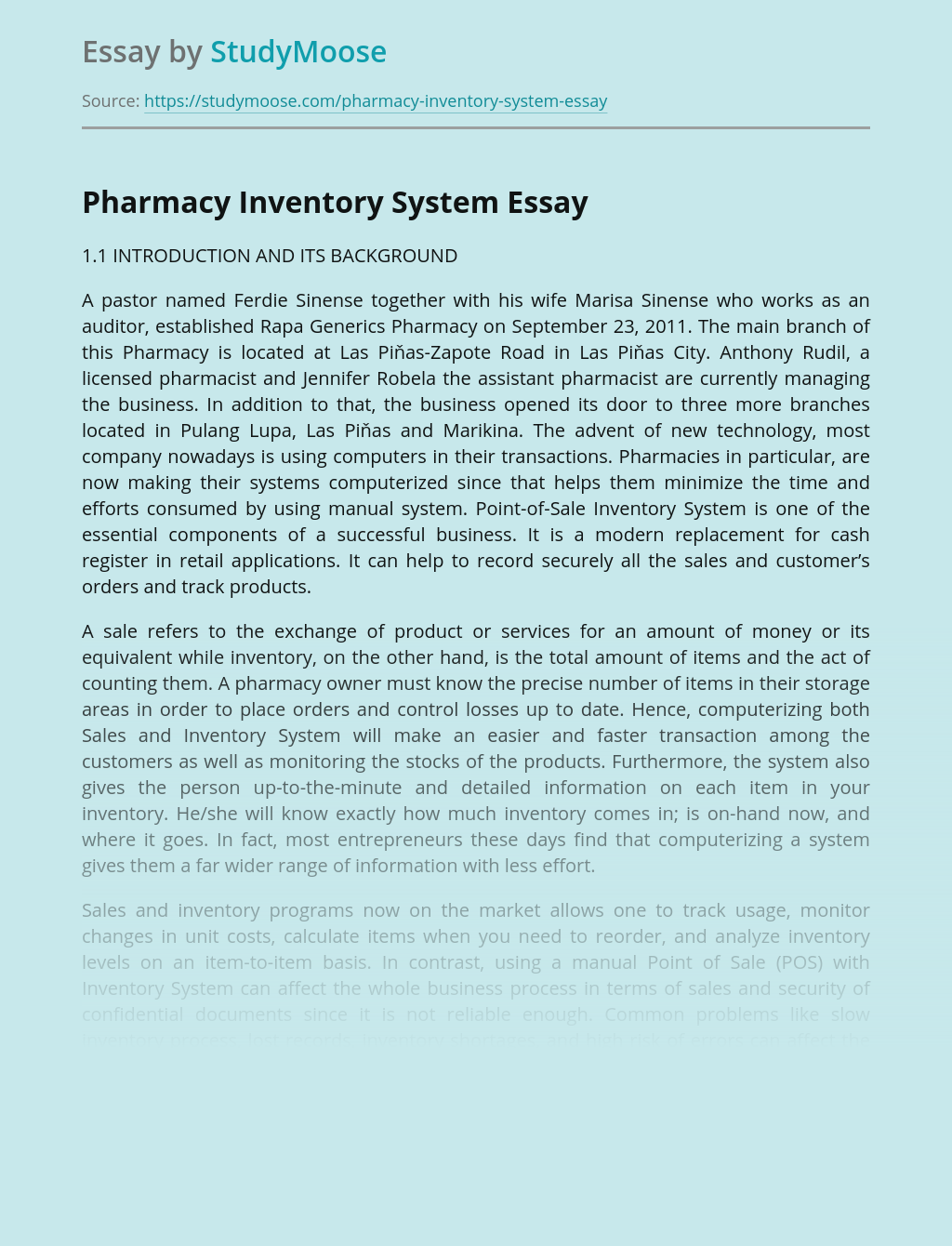 Pharmacy Inventory System