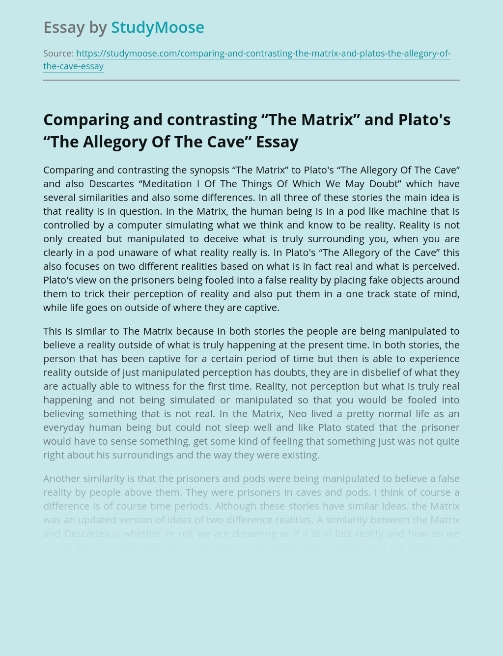 """Comparing and contrasting """"The Matrix"""" and Plato's """"The Allegory Of The Cave"""""""