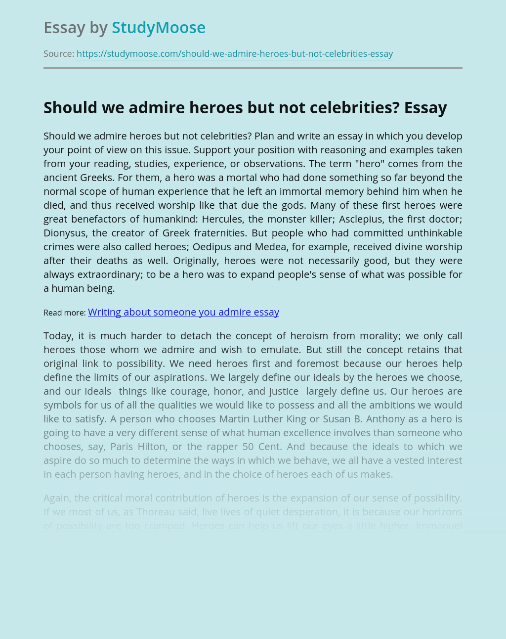 Should we admire heroes but not celebrities?