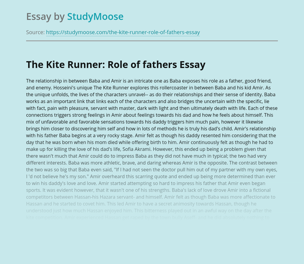 The Kite Runner: Role of fathers