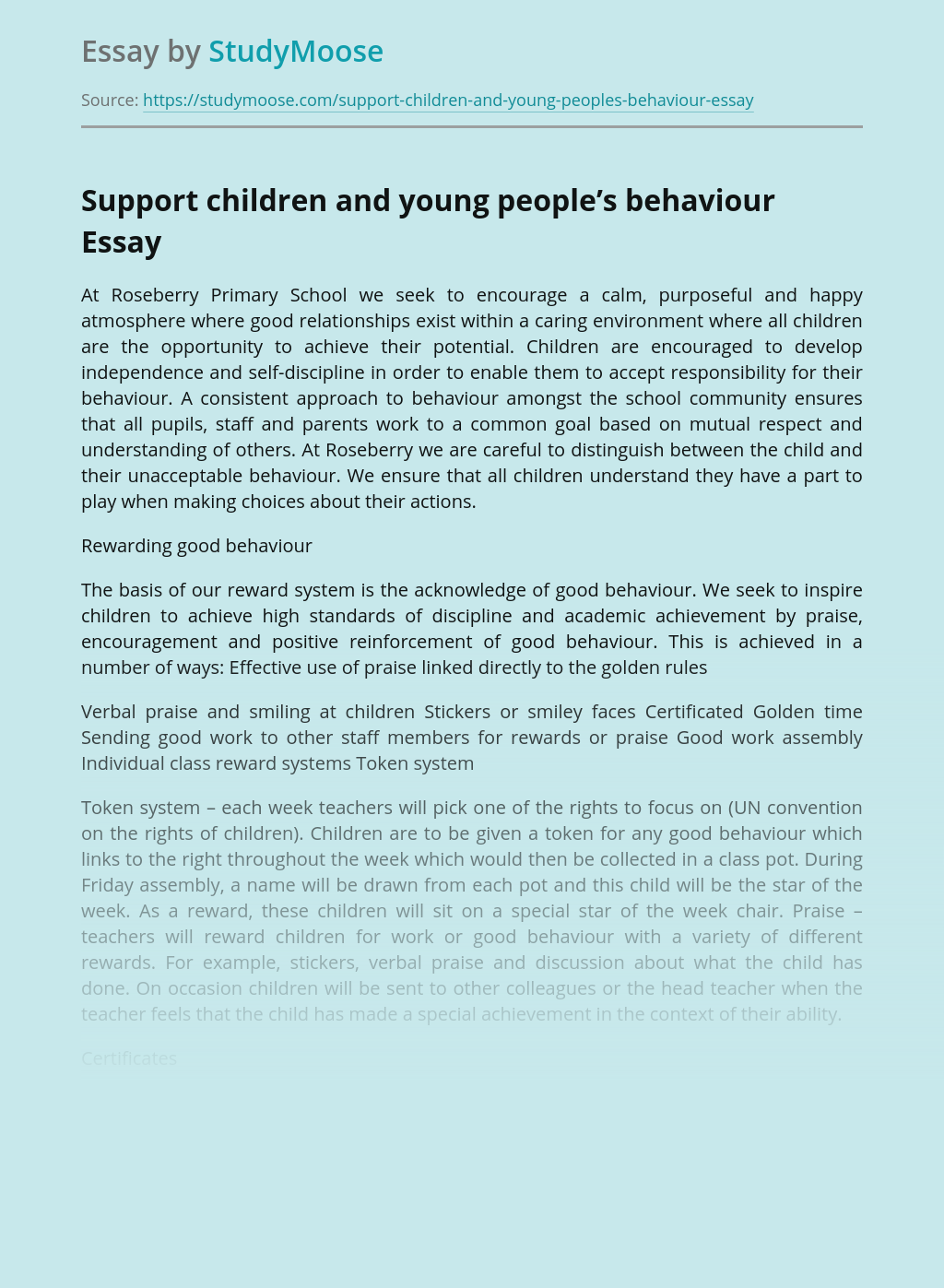 Support children and young people's behaviour