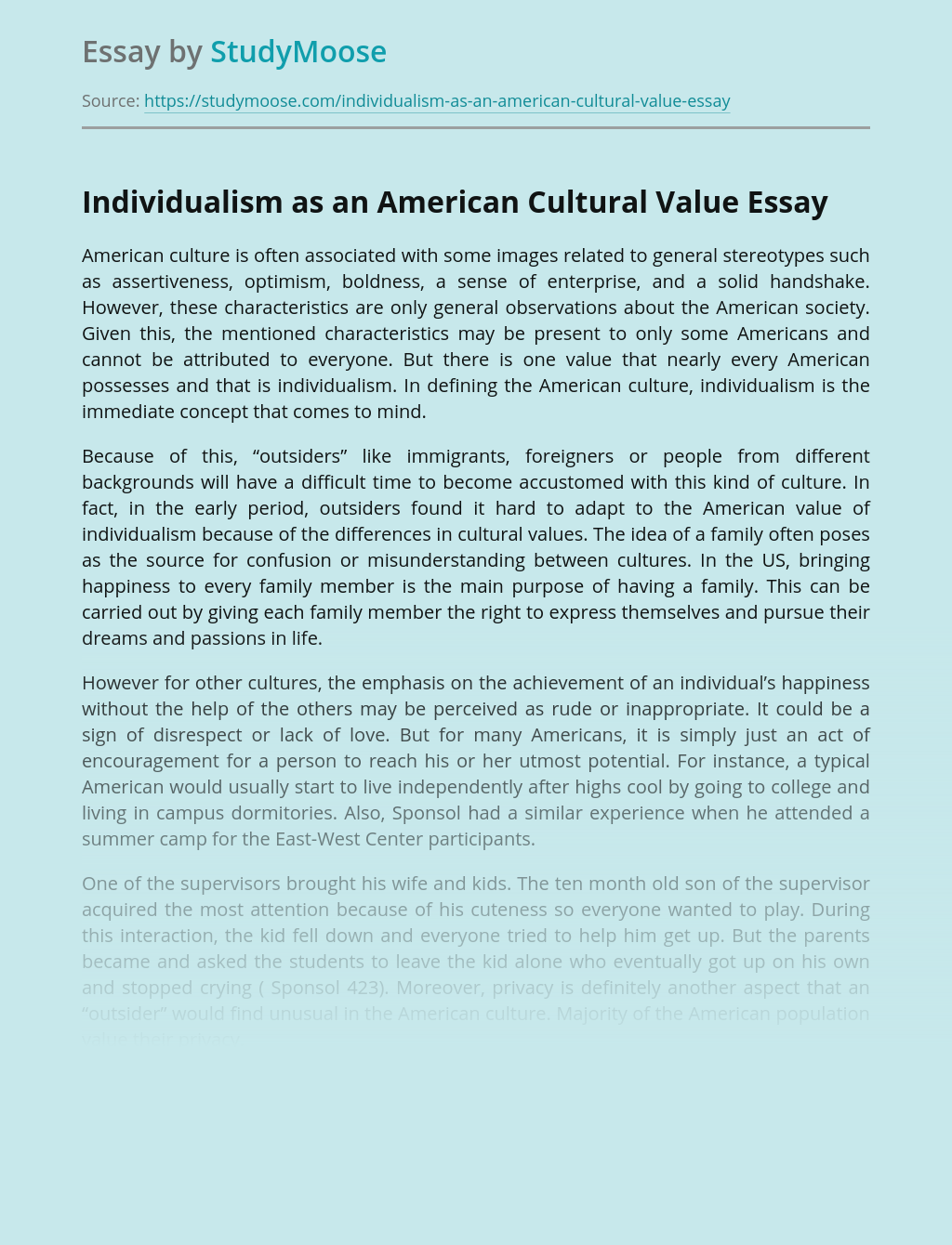 Individualism as an American Cultural Value