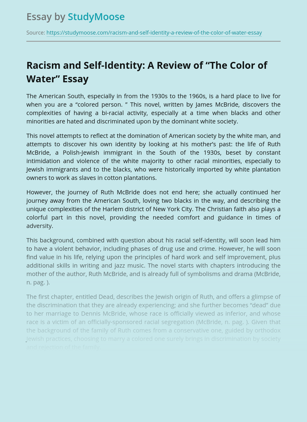 """Racism and Self-Identity: A Review of """"The Color of Water"""""""