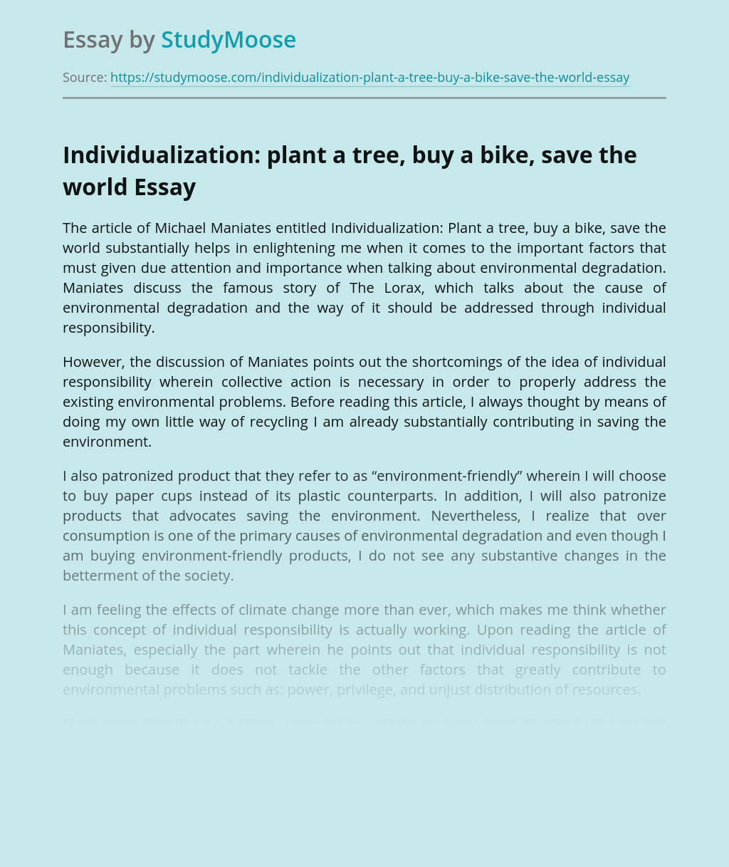 Individualization: plant a tree, buy a bike, save the world