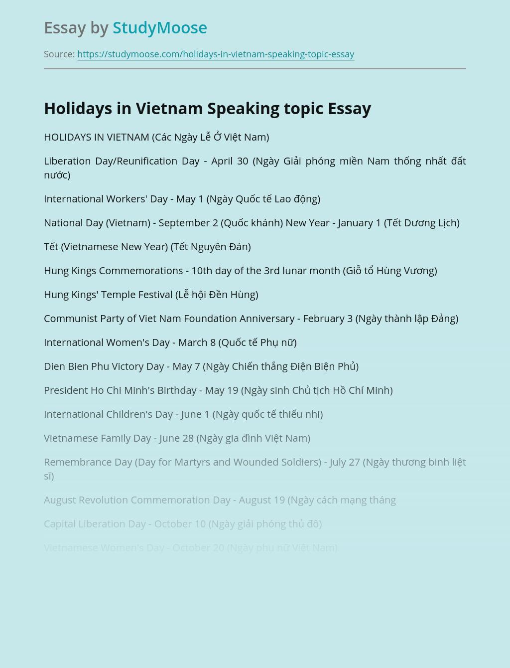 Holidays in Vietnam Speaking topic