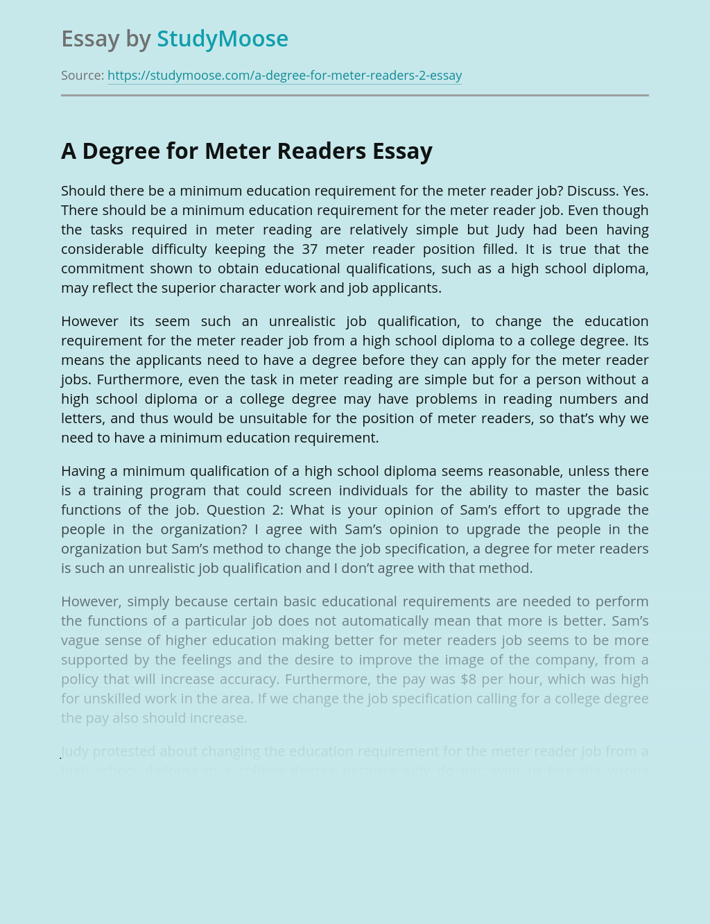 Education and A Degree for Meter Readers