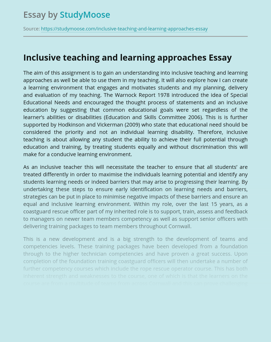 Inclusive teaching and learning approaches