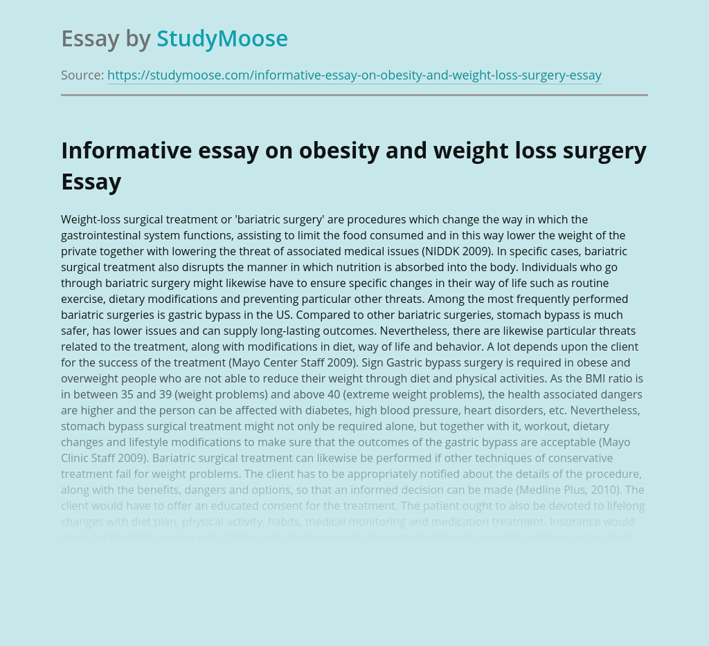 Informative essay on obesity and weight loss surgery