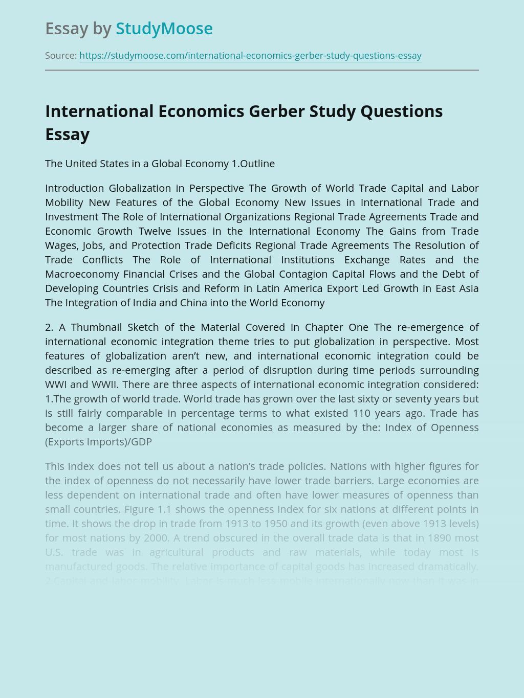 International Economics Gerber Study Questions