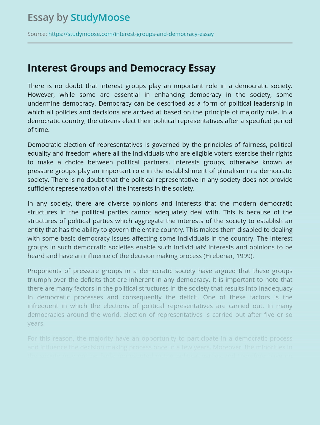 Interest Groups and Democracy